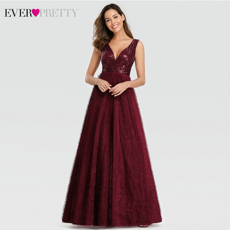 Sexy Burgundy Evening Dresses Long Ever Pretty Sequined A-Line Double V-Neck Ladies Fluffy Party Gowns Abiye Gece Elbisesi 2019