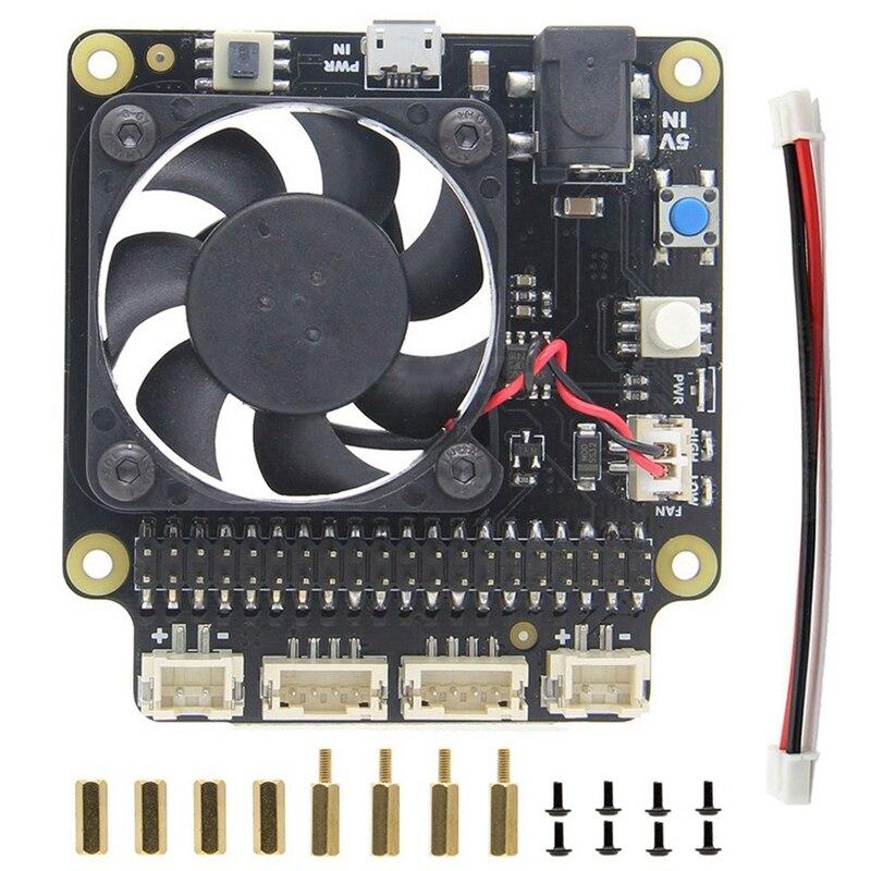 HOT-Per Il Raspberry Pi X735 di Gestione Dell'alimentazione e Auto di Raffreddamento Scheda di Espansione Con Cassetta di Sicurezza di Arresto Per Raspberry Pi 3B + (Plus) /3B/2B +