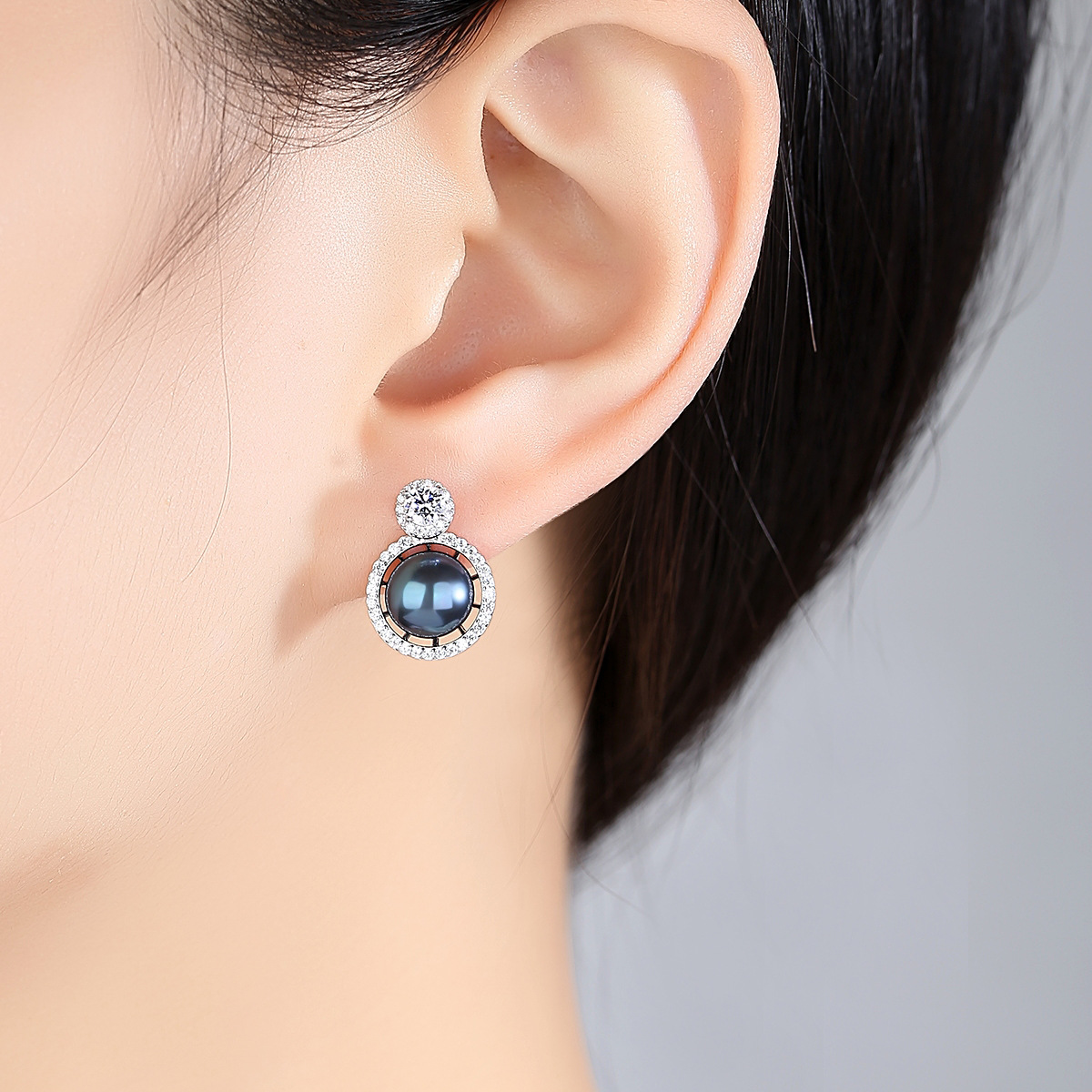 Korea S925 Sterling Silver Pearl Zircon Stud Earrings Woman Fashion White Black Natural Freshwater Pearl Wedding Banquet Jewelry