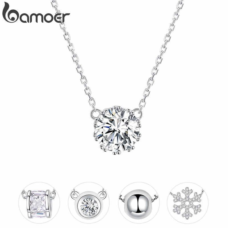 Bamoer Simple minimalista Collar corto para mujeres 925 plata esterlina claro circón cúbico cadena collares boda joyería BSN085