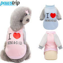 I Love Mom&Dad Small Dog Clothes Warm Coat Jacket Winter Hoodie Clothing Chihuahua Cat/Puppy Outfits For Dogs