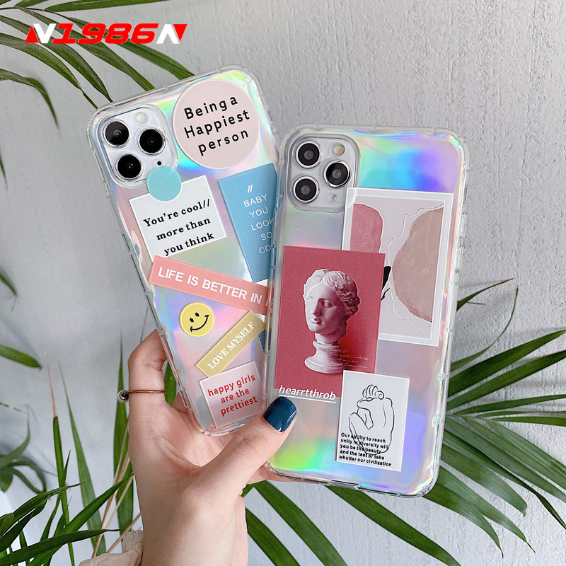 N1986N Phone Case For iPhone 11 Pro X XR XS Max SE 2020 6 6s 7 8 Plus Fashion Art Atatue Cartoon Letter Laser Soft For iPhone 11