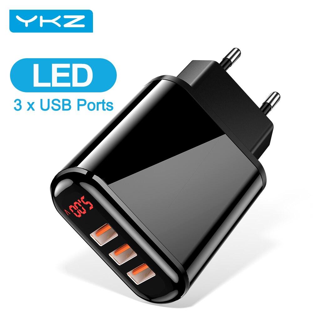 Сетевое зарядное устройство YKZ, 3 USB порта, чёрный, EU