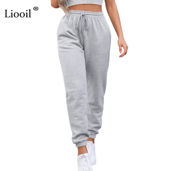 Liooil Sexy High Waist Loose Fleece Sweatpants Trousers With Pocket 2021 Fall Winter Black White Baggy Joggers Women Sweat Pants 1