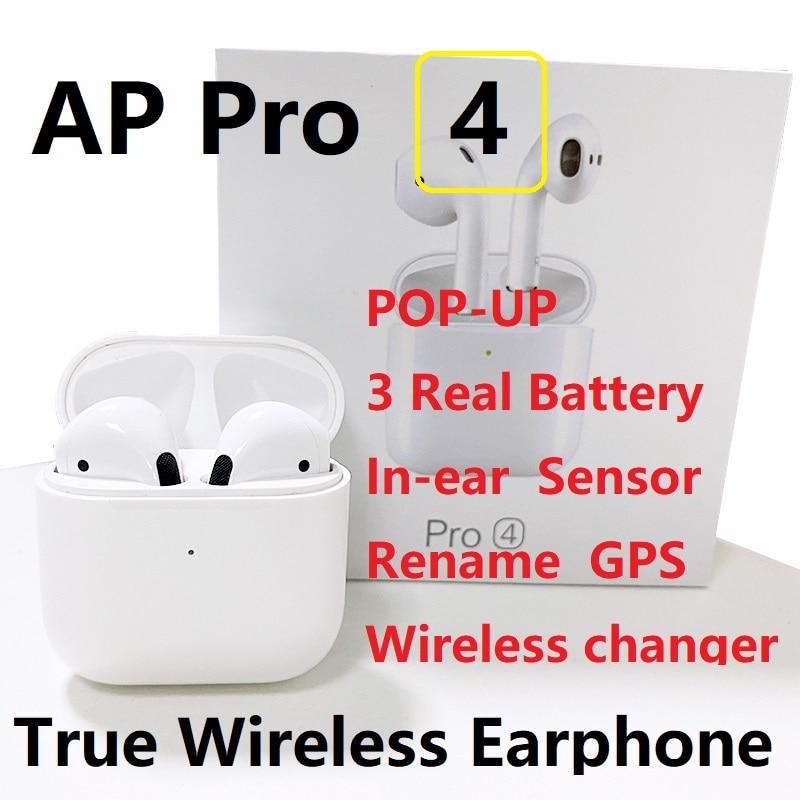 Новая беспроводная гарнитура Airpro 4 TWS, Bluetooth-наушники, модные tws-наушники, спортивные оригинальные мини-наушники с GPS-переименованием