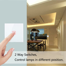 Minitiger padrão da ue 1 gang 2 way controle interruptor de toque luz parede, painel vidro cristal, cross/through switches, 2 unidades/pacote