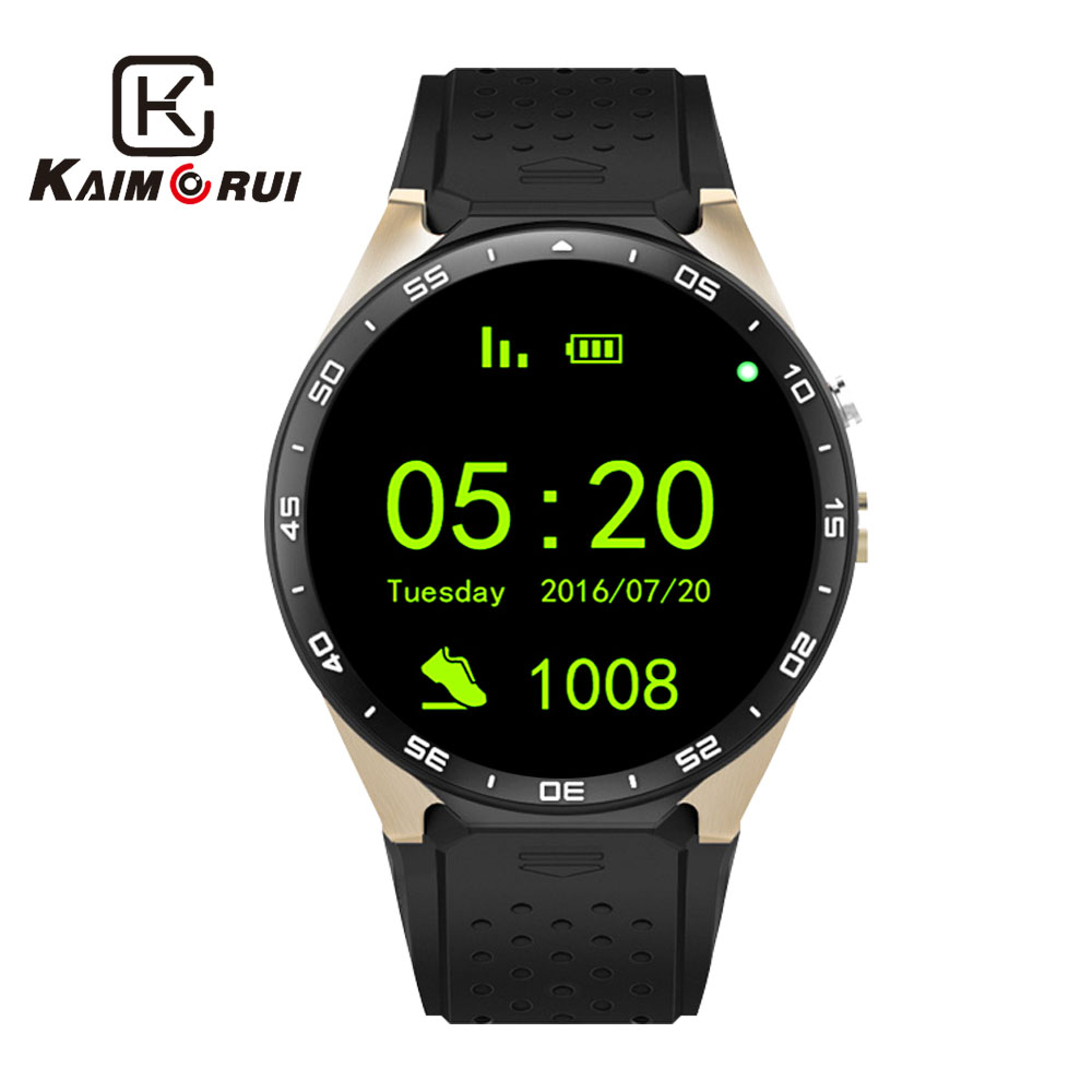 Kaimorui KW88 Bluetooth Relógio Inteligente Android 5.1 Os 1.39 'Tela Amoled 3G Wi-fi Smartwatch Telefone + Bluetooth Sem Fio Fone De Ouvido