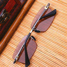 Vazrobe Crystal Glass Sunglasses Men Rimless Crystal Sun Gla