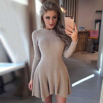 Women Long Sleeve Sweater Mini Knitted Dresses