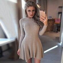 Kobiet sweter z długim rękawem sukienka kobiet nieregularne Hem Casual jesień zima, sukienka, kobiety, O neck, linia krótka Mini z dzianiny sukienki