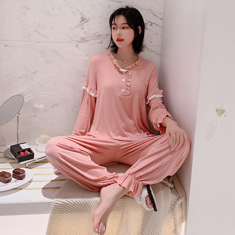 Autumn New Home Clothes for Ladies Cotton Fabric Sleepwear Multi Colors Women Clothes Loose Casual Style Long-sleeved Pajama Set