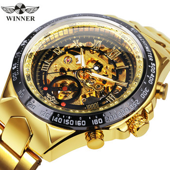 WINNER Official Fashion Luxury Men's Mechanical Skeleton Watch Big Metal Strap Top Brand Dropship Retro Wristwatches Golden +BOX - discount item  50% OFF Men's Watches