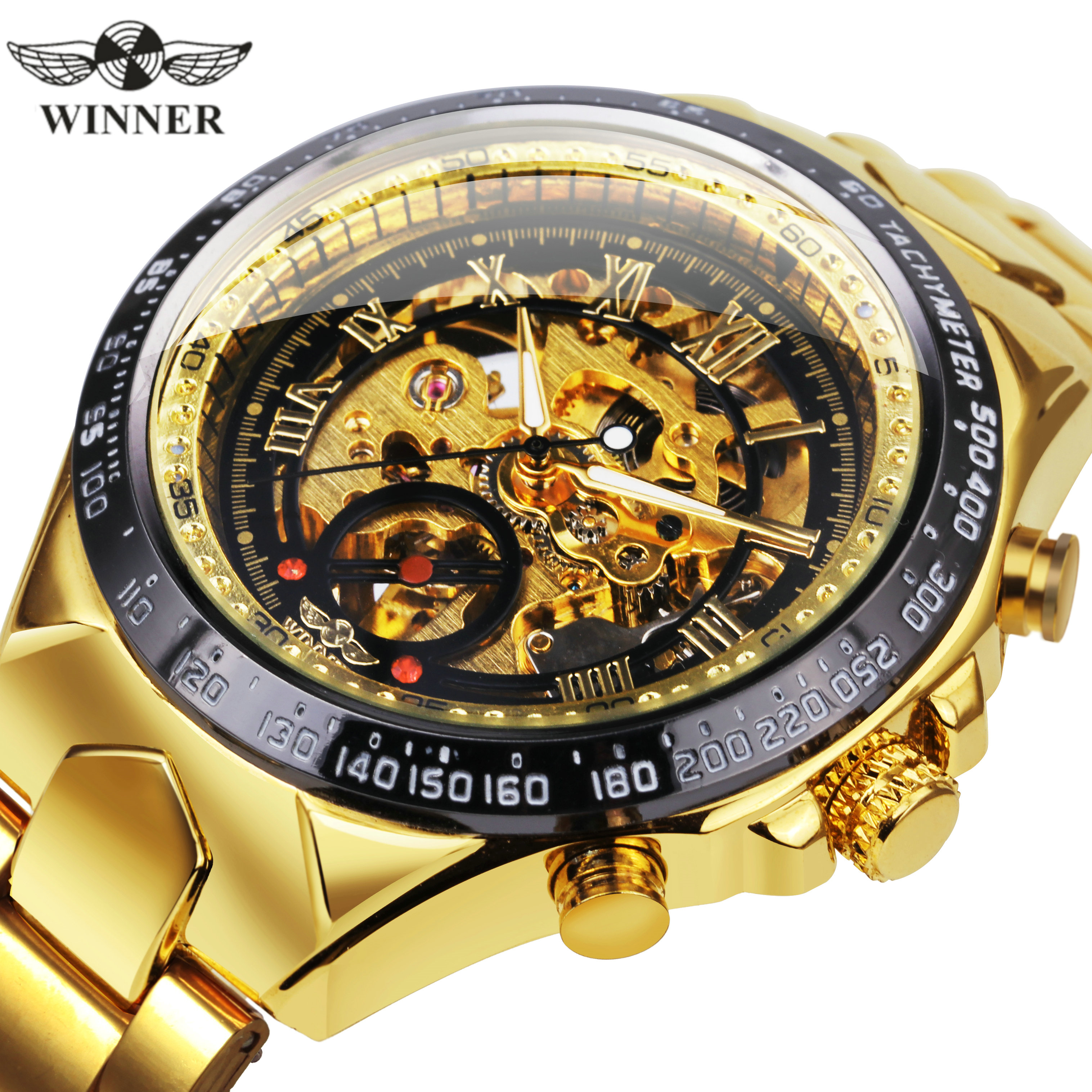 WINNER Official Vintage Fashion Men Mechanical Watches Metal Strap Top Brand Luxury Best Selling Vintage Retro Wristwatches +BOXMechanical Watches   -