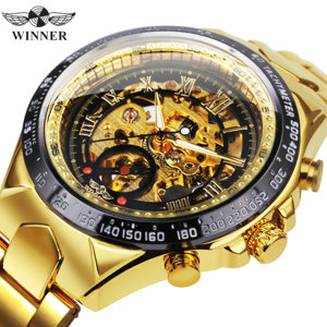 Image 1 - WINNER Official Vintage Fashion Men Mechanical Watches Metal Strap Top Brand Luxury Best Selling Vintage Retro Wristwatches +BOX