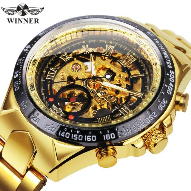 WINNER Official Vintage Fashion Men Mechanical Watches Metal Strap Top Brand Luxury Best Selling Vintage Retro Wristwatches +BOX