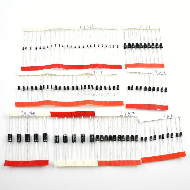 Комплект разнообразных диодов 1N4148/1N4007/1N5819/1N5399/1N5408/1N5822/FR107/FR207, 8 видов = 100 шт.
