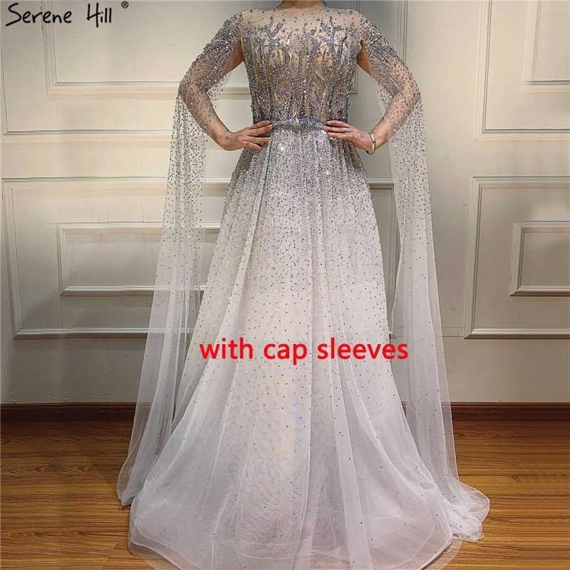 כסף אפור יוקרה ארוך שרוולים ערב שמלות 2020 O-צוואר אונליין סקסי ערב שמלות Serene היל LA60869