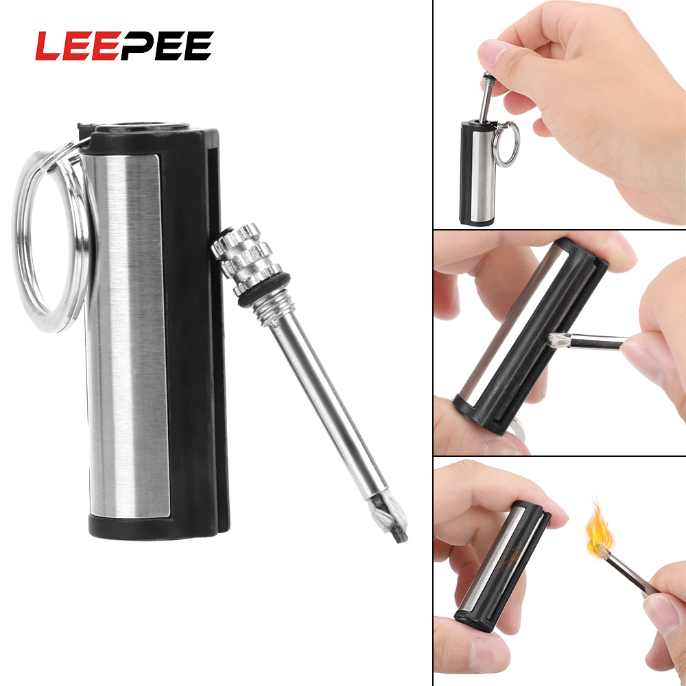 LEEPEE Auto Interior Accessories Cylindrical Match Permanent Key Ring Striker Lighter Stainless Steel Key Chain