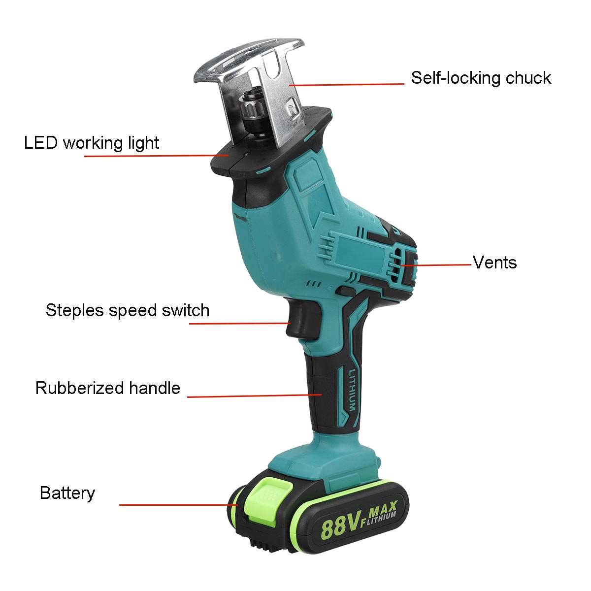 Tools : 88V 7500mAh Battery Cordless Reciprocating Saw Wood Metal Cutting Saw Saber Saw Portable Electric Saw Rechargeable Power Tool