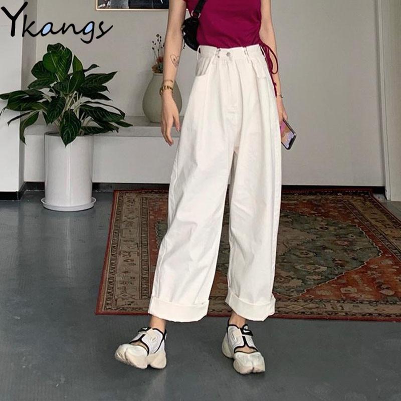 White High waist Jeans for Women blue wide Leg Loose Denim Pants Female Black Buckle to adjust waist Trousers Korean Streetwear