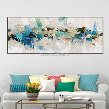 Hand Painted Acrylic Canvas oil Painting golden white blue Large Minimal Modern Neutral Wall Art Nordic Abstract Picture Artwork