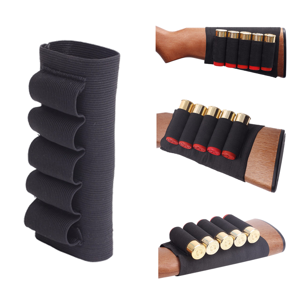 5 Round Gun Shotgun Ammo Bullets Shell Holder Pouch Cartridge for 12 GA Hunting