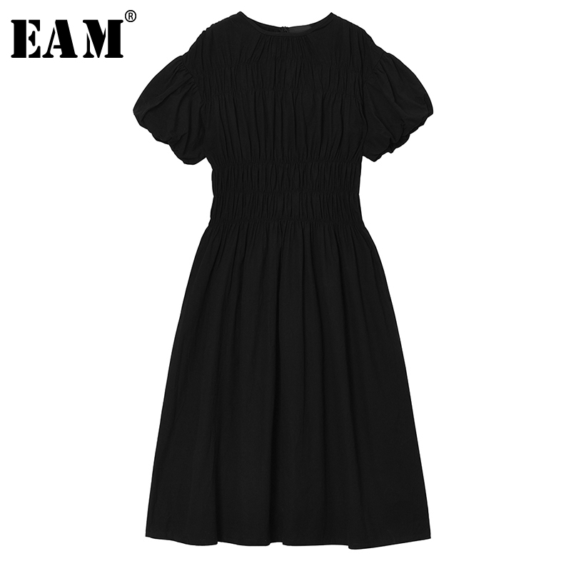 [EAM] Women White Pleated Split Joint Temperament Dress New Round Neck Short Sleeve Loose Fit Fashion Spring Summer 2020 1U404