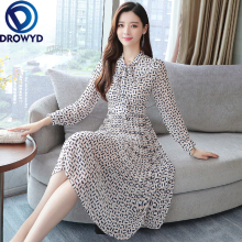 Fashion Pleated Chiffon Print Midi Dress for Women Casual Floral Long Sleeve Pocket Elegant Club Party Dresses Vestidos
