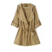 Женская Повседневная ветровка с капюшоном осеннее пальто отложным