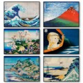 The Great Wave off Kanagawa Katsushika Hokusai ВИНТАЖНЫЙ ПЛАКАТ на холсте с изображением тонкой ветра прозрачный утренний домашний декор