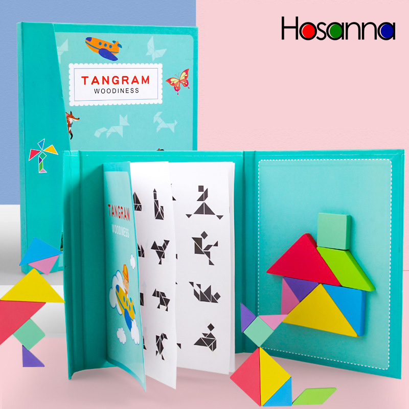 Magnetic Tangram Puzzle Book Portable Preschool Baby Kids Toys Intelligence Jigsaw Puzzle Wooden Educational Toys for Children 1