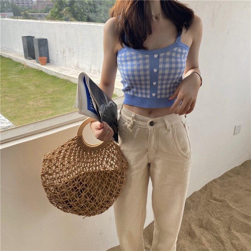 Женские винтажные трикотажные майки в клетку, топы без рукавов на тонких бретельках с пуговицами