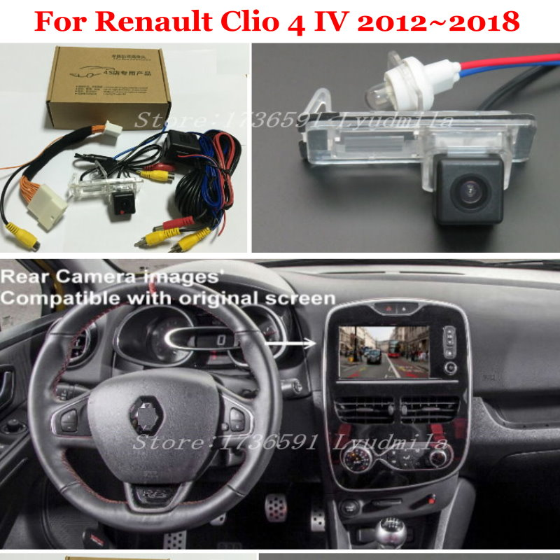 Car Backup Rear View Camera With 24Pin Adapter Cable For Renault Clio 4 IV 2012~2018 RCA Connect Original Factory Screen Monitor