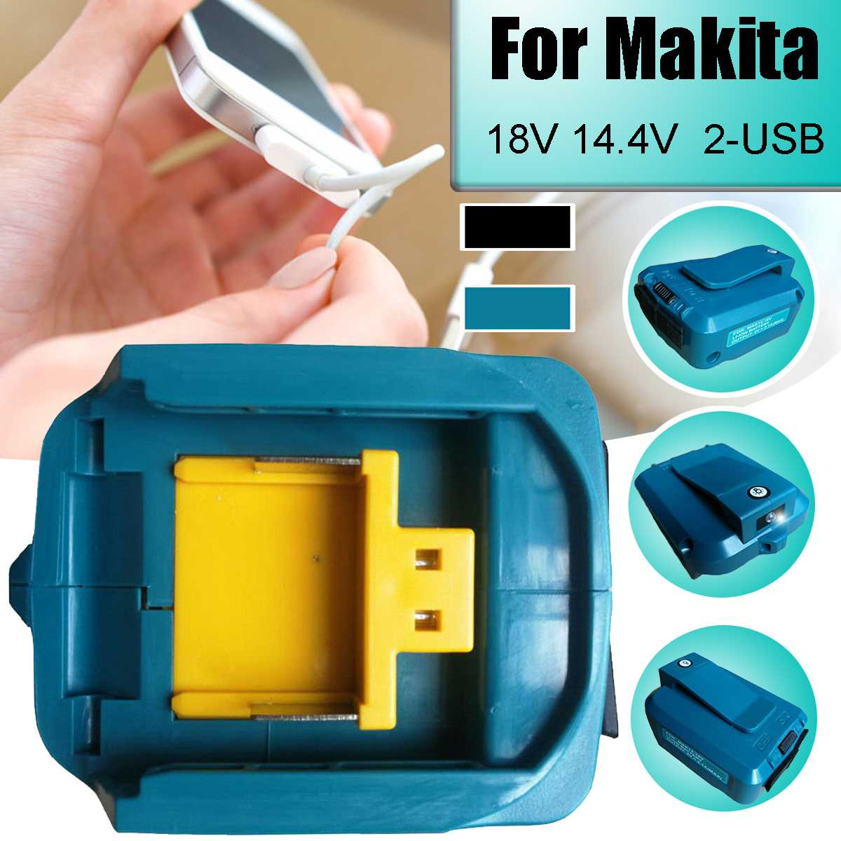 Portable USB Charging Adapter 2-USB For Makita Tools Charging Battery Adapter Power Charger For Mobile Phone Power Tool Battery