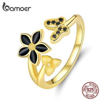 Joyería de plata de bambú 925, anillo abierto de esmalte negro con flor y mariposa, Color dorado plateado, joyería de moda BSR087