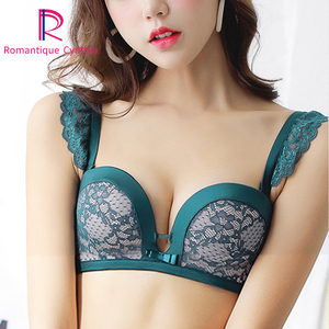 Image 1 - Women Push Up Sexy Bra Set Thick Cotton Deep V Embroidery Seamless Underwear Lingerie Black Lace Bra And Panties Set 80 Green