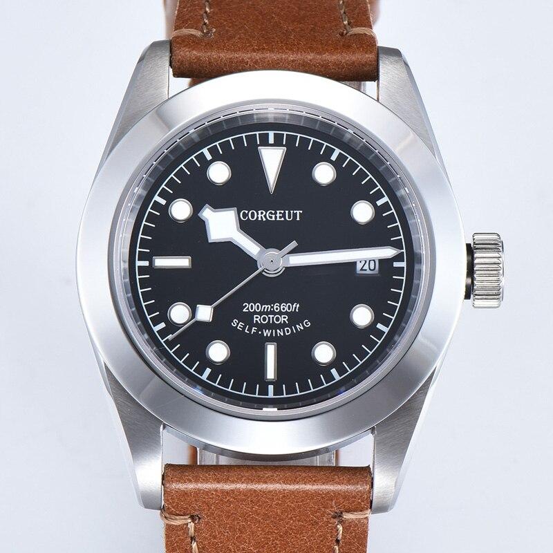 Corgeut 41mm Luxus Marke Military Schwarz Bay Mechanische Uhr Männer Automatische Sport Uhr Leder Mechanische Handgelenk Uhren