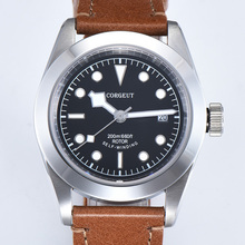 Corgeut 41mm יוקרה מותג צבאי מכאני Mens שעון זוהר ספורט Diver שעון עור רצועת שעוני יד גברים