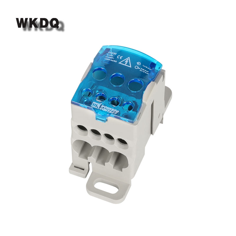 Din Rail Terminal Block Junction Box UKK80A One in several out Power Distribution Block Box Universal Electric Wire Connector image