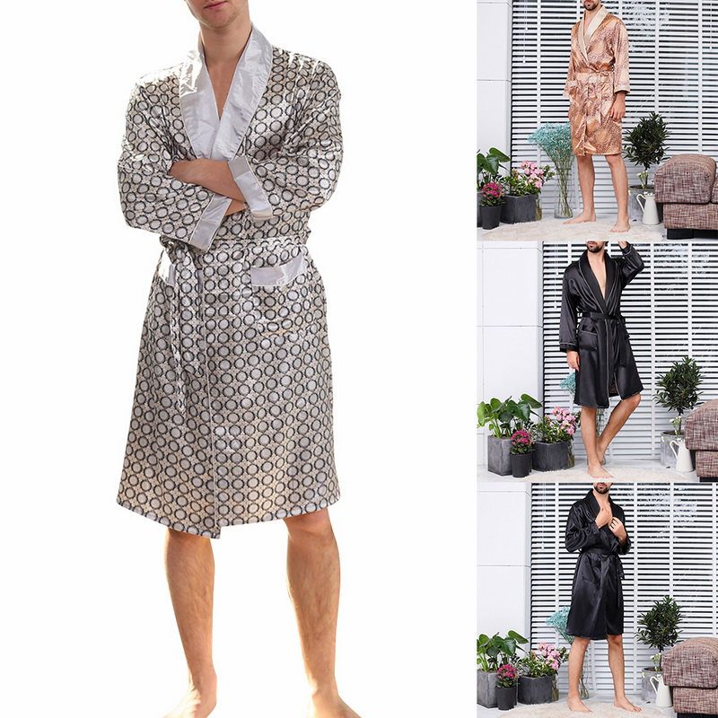 Mens Summer Luxurious Silk Printed Robes 2019 New Fashion Men Long-Sleeve Thin Nightgown Soft Satin Comfortable Pajamas