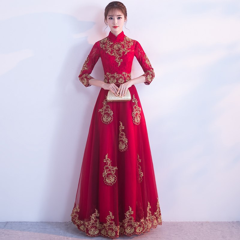 Bride Dress For Toast 2019 New Style Red, Long Marriage Evening Gown Chinese Style Huimen Suit Long Sleeve Stand Collar Slimming