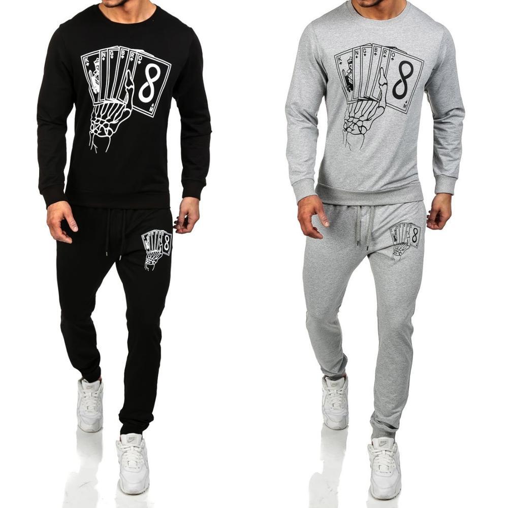 Vogue Nice New Mens Long Sleeve Fashion Slim Men Suit 2PCS Casual Sports Sets Men Pattern Printed Hoodies+Pants Suit Clothing