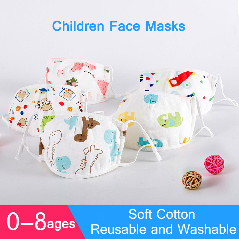 YELITE Cotton Gauze Child Mask Five-layer Adjustable Cartoon Mouth Mask Washable Reusable Dust-Proof Super Soft Fashion Design