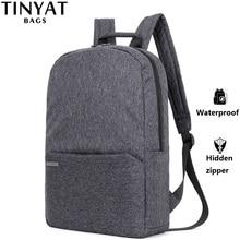 TINYAT 남자 노트북 백팩 15 컴퓨터 Mochila Escloar 방수 학교 배낭 가방 십 대 캔버스 어깨 배낭에 대 한
