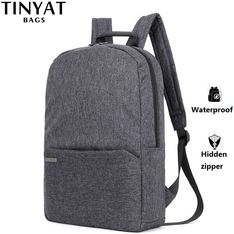TINYAT Men Laptop Backpack For 15 ''Computer Mochila Escloar Waterproof School Backpack Bag For Teenage Canvas Shoulder Backpack