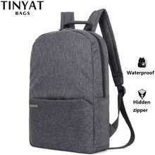TINYAT Men Laptop Backpack for 15 Computer Mochila Escloar Waterproof School Backpack Bag for teenage Canvas Shoulder Backpack