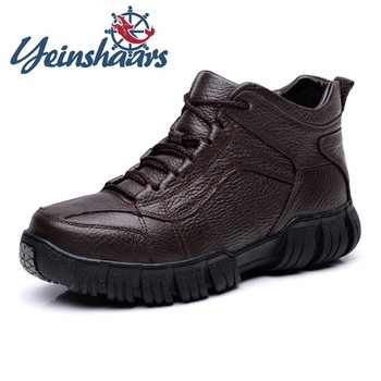Mens Shoes Genuine Leather Winter Shoes Classic Warm Comfortable Luxury Leather Outdoor Snow Boots Casual Gents Botas Brahma