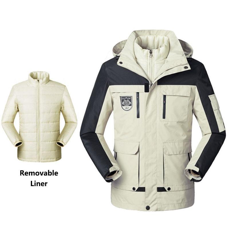 5XL Men Women Outdoor Winter Thermal Jackets Windproof Waterproof With Liner Coats Climbing Skiing Hiking Sports Windbreaker