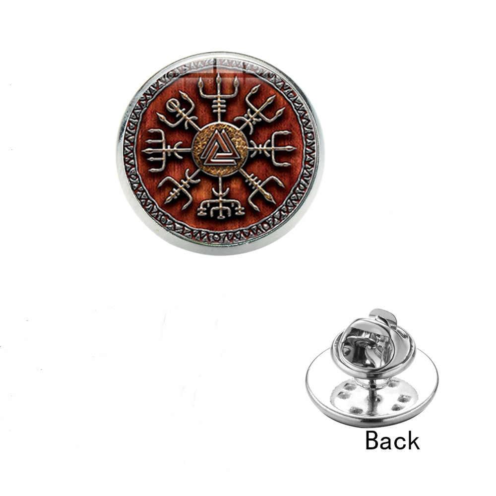 Sian Vegvisir Viking Kompas Pin Bros Vintage Punk Nordic Bajak Laut Rune Kaca Cabochon Stainless Steel Gesper Pria Lencana