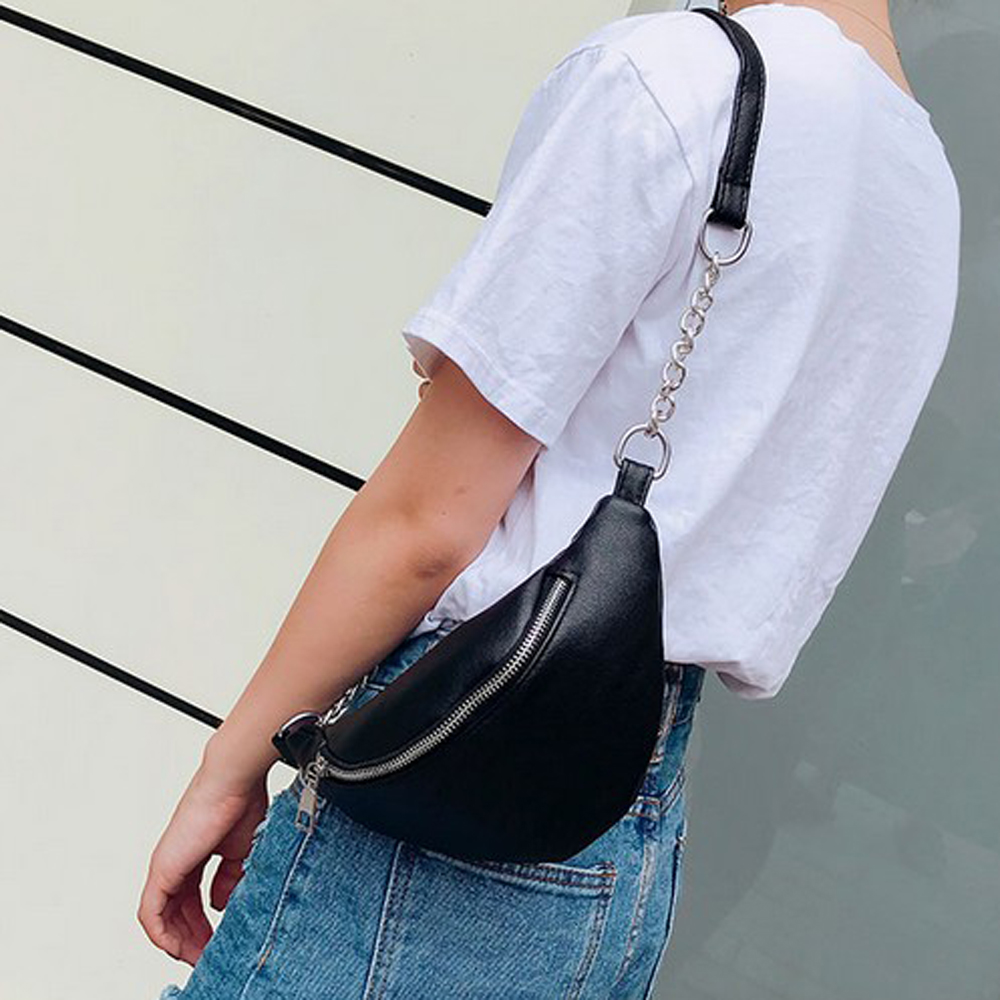 Women PU Waist Bag Chain Fanny Pack Travel Belt Purse Shoulder Bags Tote Gift High Street Fashion Waist Packs